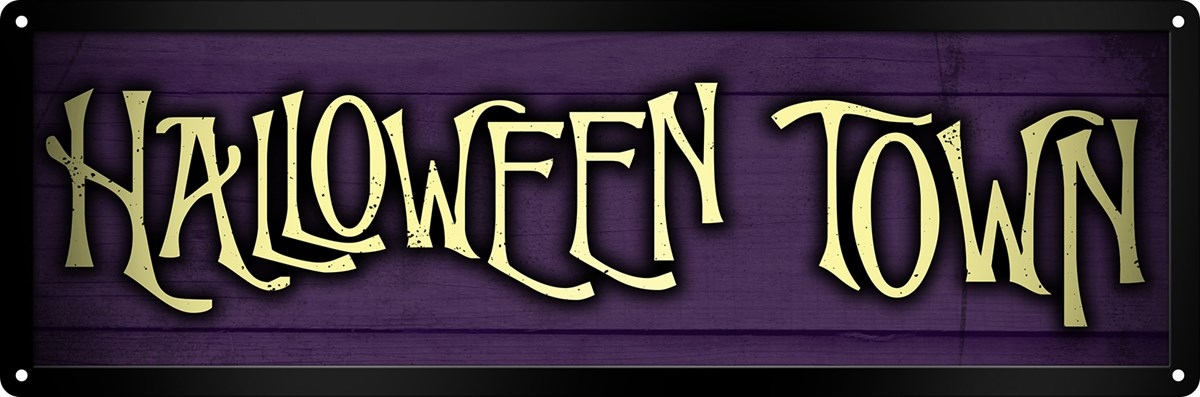 halloween town slim tin sign