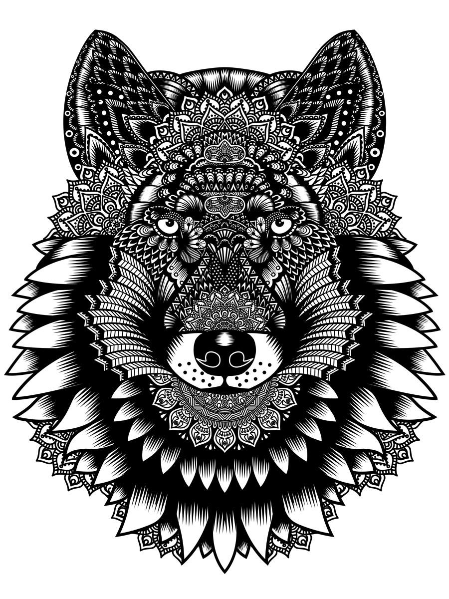 25955c91 Unorthodox Collective Wolf Mandala Men's White T-Shirt - Buy Online ...