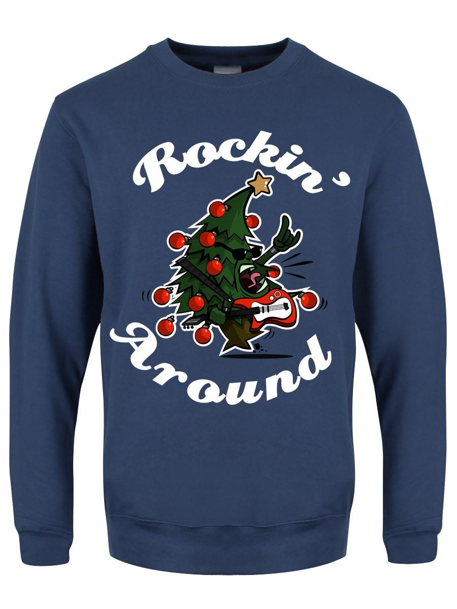 Rock Around The Christmas Tree.Rockin Around The Christmas Tree Men S Airforce Blue Christmas Jumper