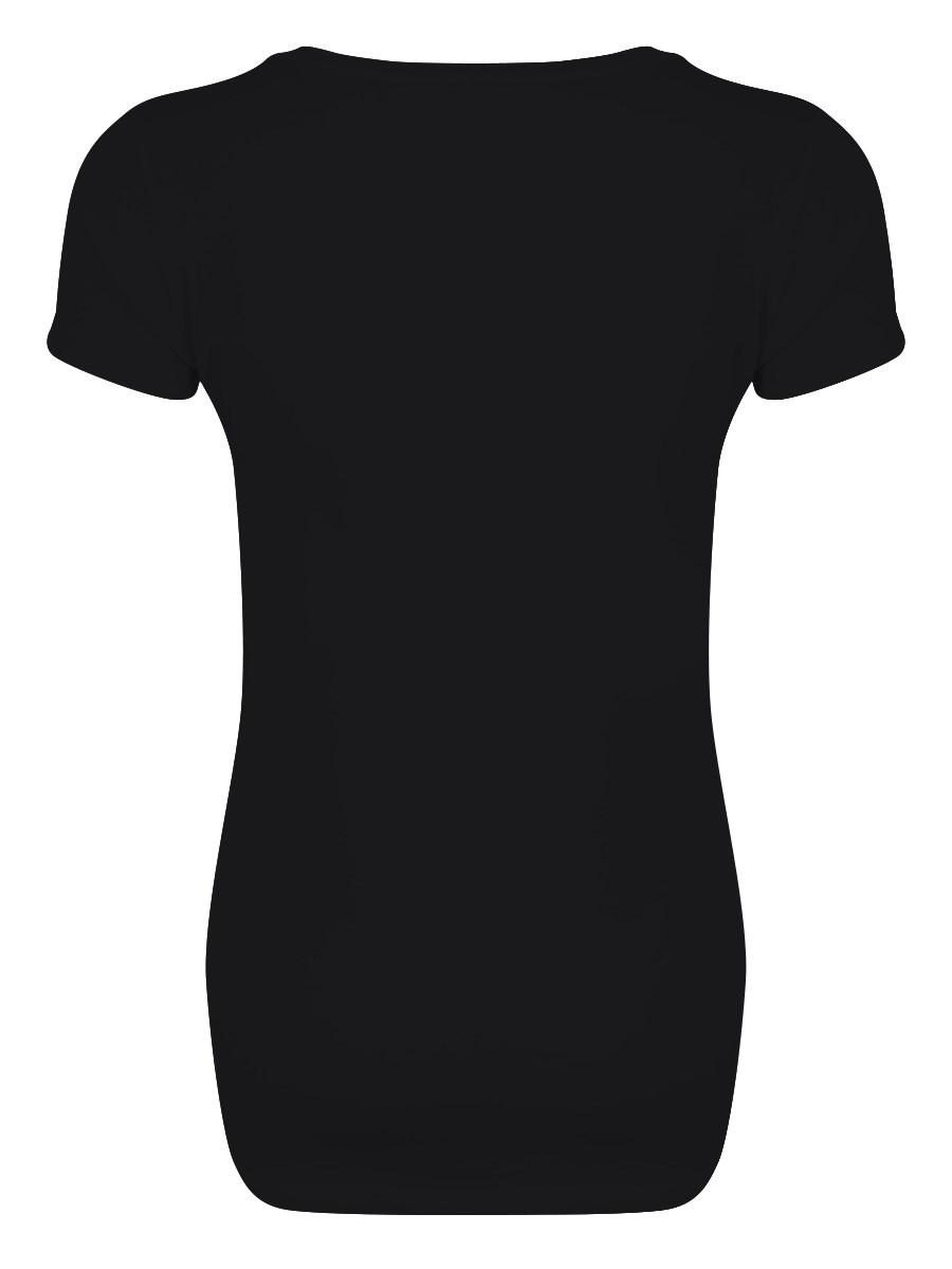 Ladies Plain Black Deep V Neck T Shirt