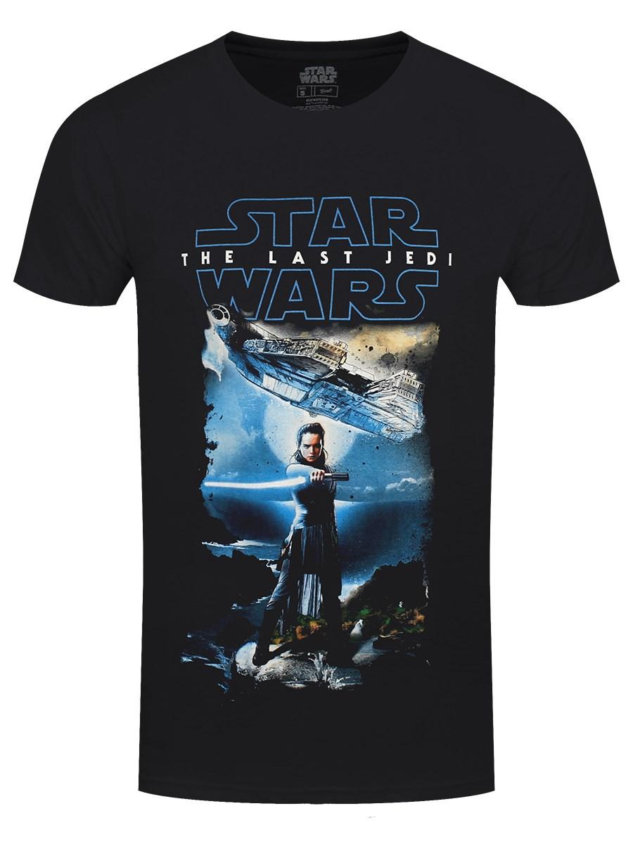 Star Wars Last Jedi Ray Millennium Falcon Official Episode 8 Black Mens T-shirt