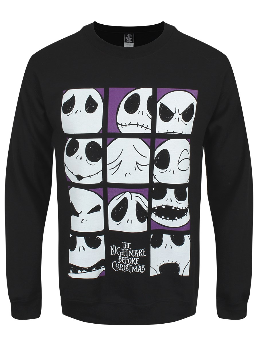 Nightmare Before Christmas Many Faces Of Jack Men\'s Black Sweater ...