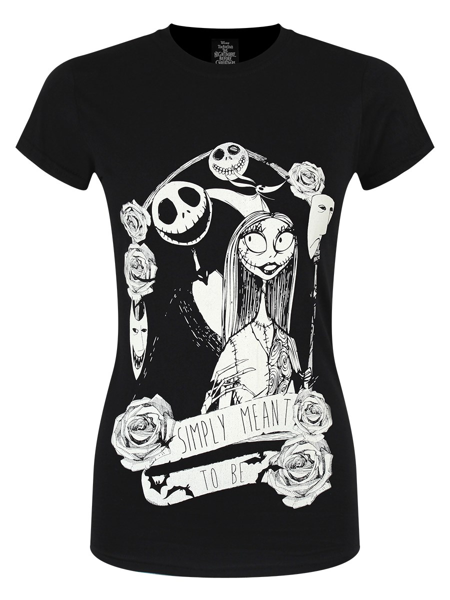 Nightmare Before Christmas Simply Meant To Be Ladies Black T-Shirt ...