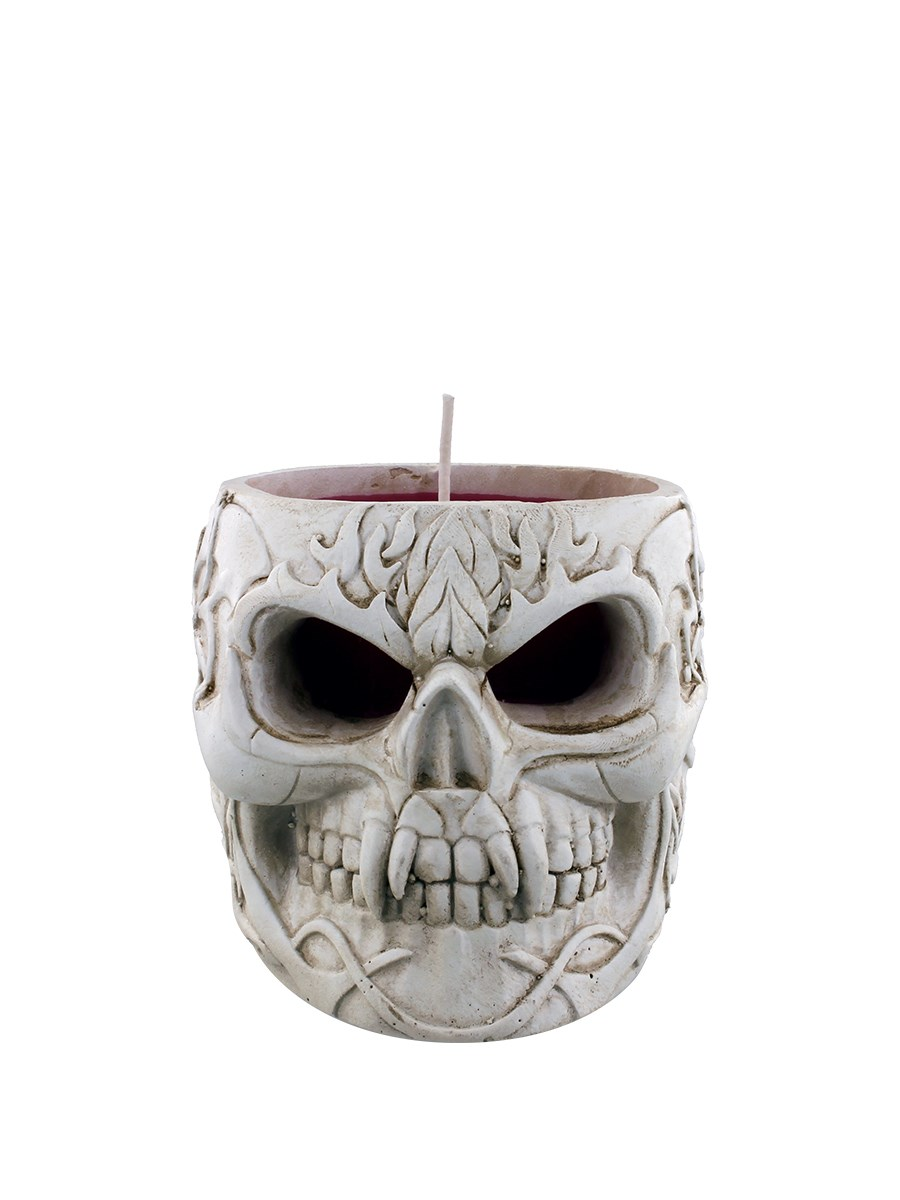 Spiral Goth Skull Resin Candle Holder With Red Wax Candle Buy Online At Grindstore Com