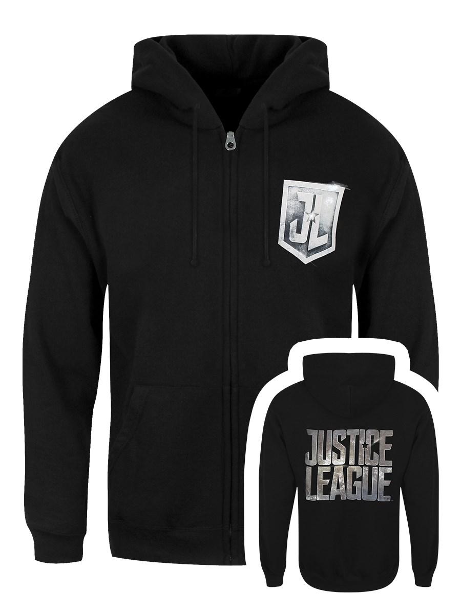 justice league movie logo men's black zipped hoodie - buy online at