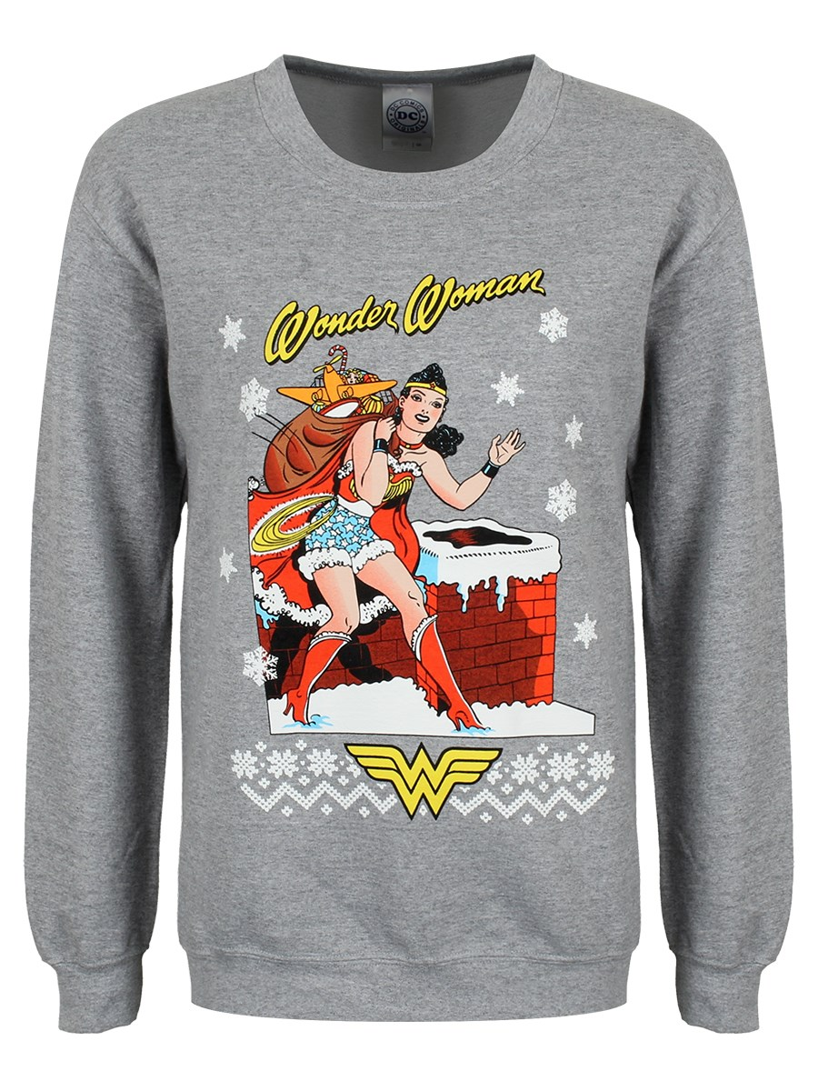 Dc Christmas Sweater.Dc Originals Wonder Woman Ladies Christmas Grey Sweater