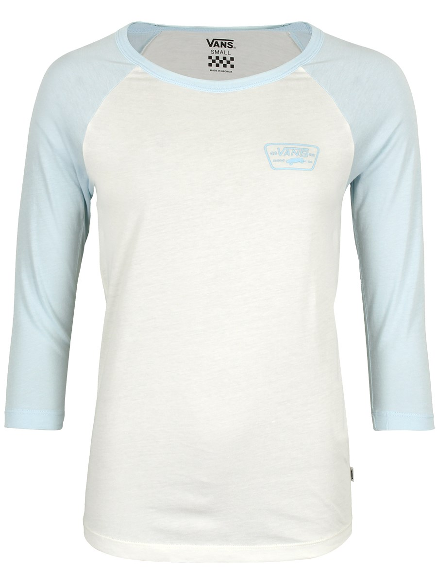 35da18b5ab Vans Ladies Full Patch Raglan T-Shirt - Marshmallow   Baby Blue ...