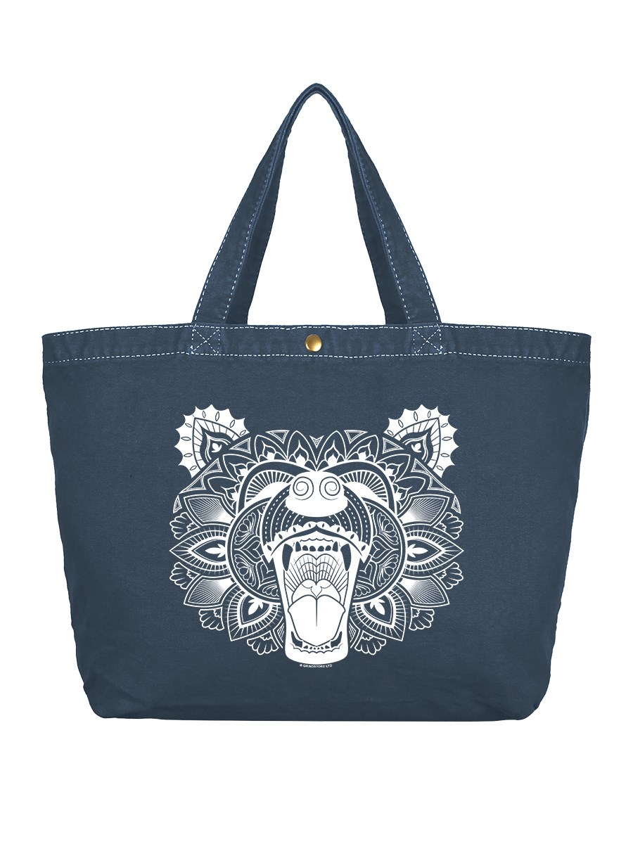 18427d4e81 Unorthodox Collective Bear Mandala Denim Canvas Shopper Bag - Buy ...