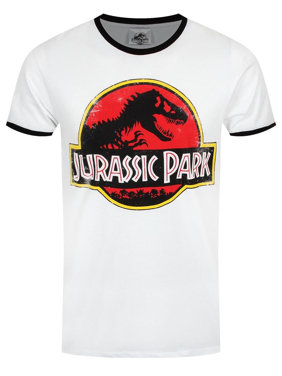 917e6c6a925 Jurassic Park Distressed Classic Logo Men's White Ringer T-Shirt
