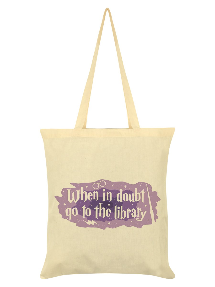 When In Doubt Go To The Library Cream Tote Bag