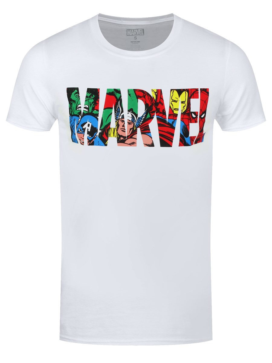 9f07f8f9511f6 Marvel Comics Logo Infill Design Men's White T-Shirt