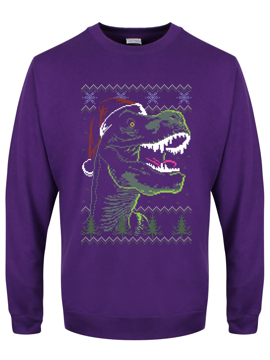 8da5e66d241 Funky Christmas Dinosaur Men's Purple Christmas Jumper