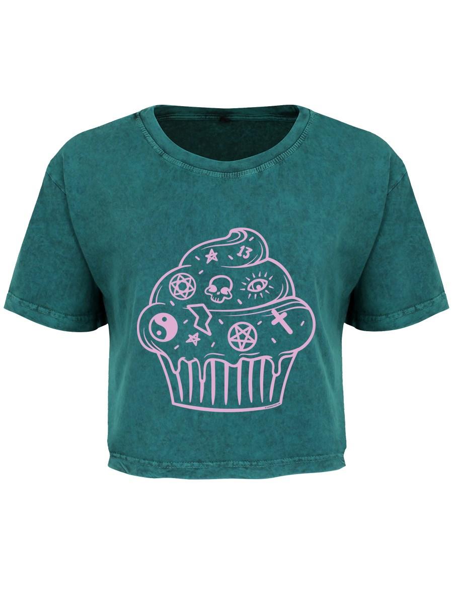 bc4c58a4cb2 Goth Cake Teal Acid Wash Crop Top - Buy Online at Grindstore.com