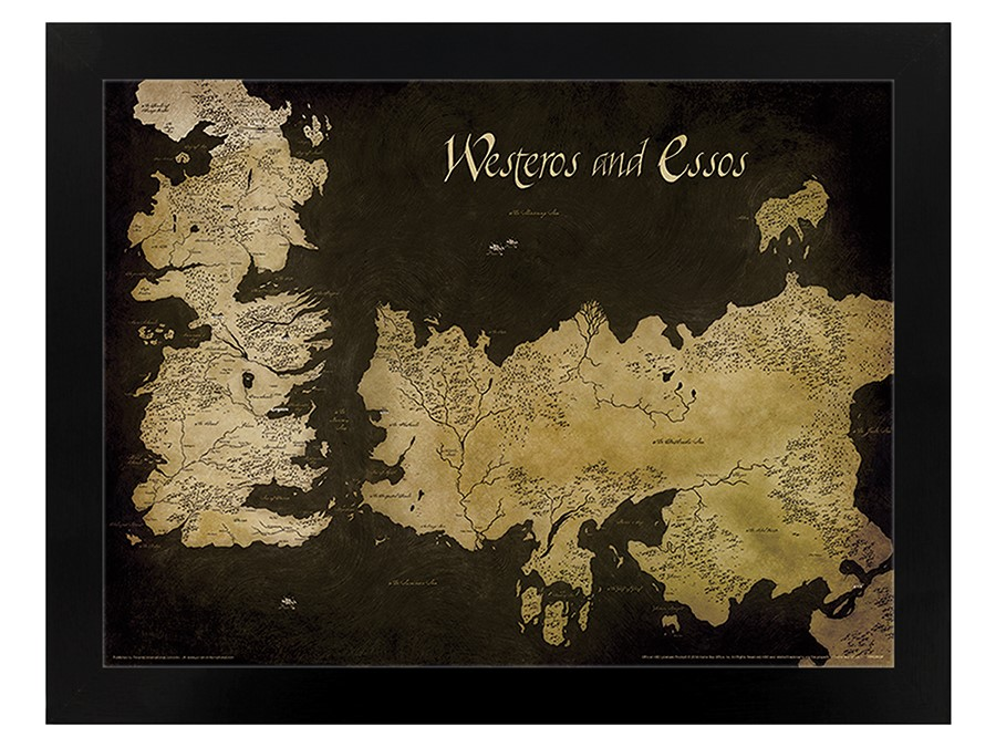 Game Of Thrones Westeros And Essos Antique Map Black Wooden Framed Poster
