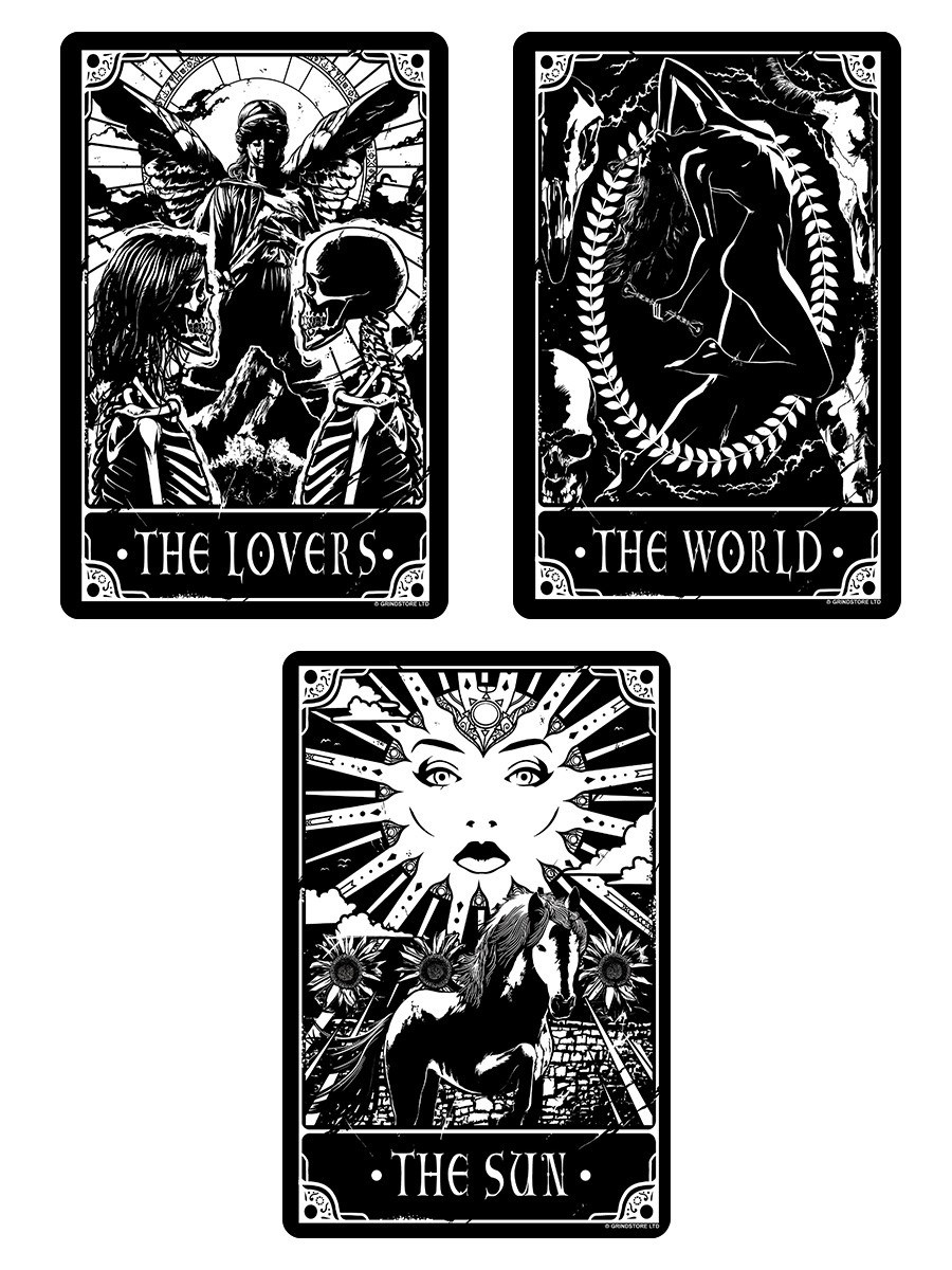 Deadly Tarot - The World, The Sun & The Lovers Small Tin Sign Set